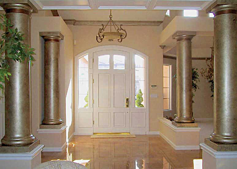 Faux Painted Columns Part - 45: Foyer With Gold Pillars.